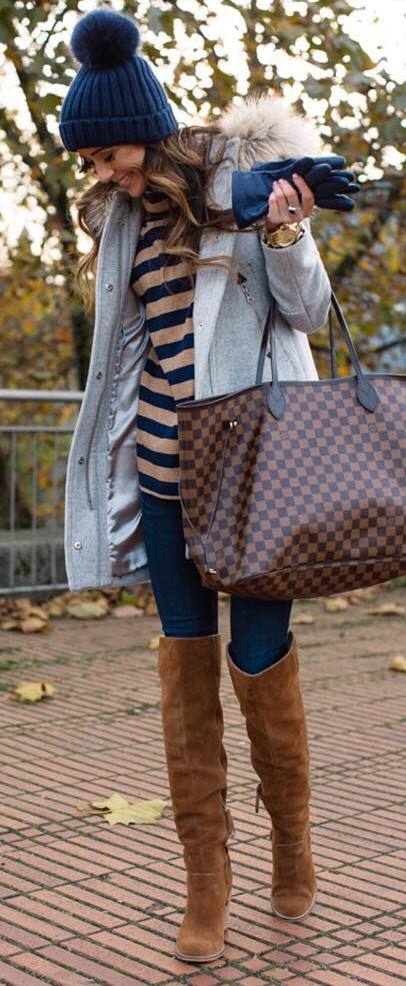 awesome winter outfit / hat + parka + bag + skinnies + stripped top + brown over the knee boots