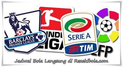 Jadwal pertandingan Liga Spanyol, English, Italis, German dan Francis di Rezekibola.com Agen Bola Terpercaya