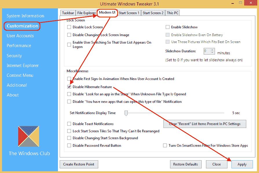 Ultimate Windows Tweaker v3.1 - Disabilitare ibernazione