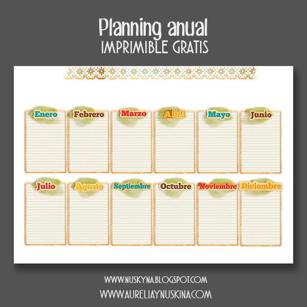 Imprimibles gratis organización. planning anual descargar gratis