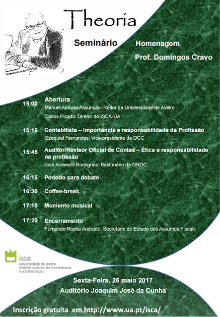 Seminário de Homenagem ao Professor Domingos Cravo no dia 26 Maio