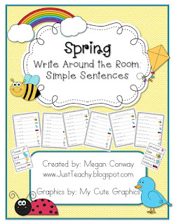Spring Write Around the Room: Simple Sentences, www.justteachy.blogspot.com