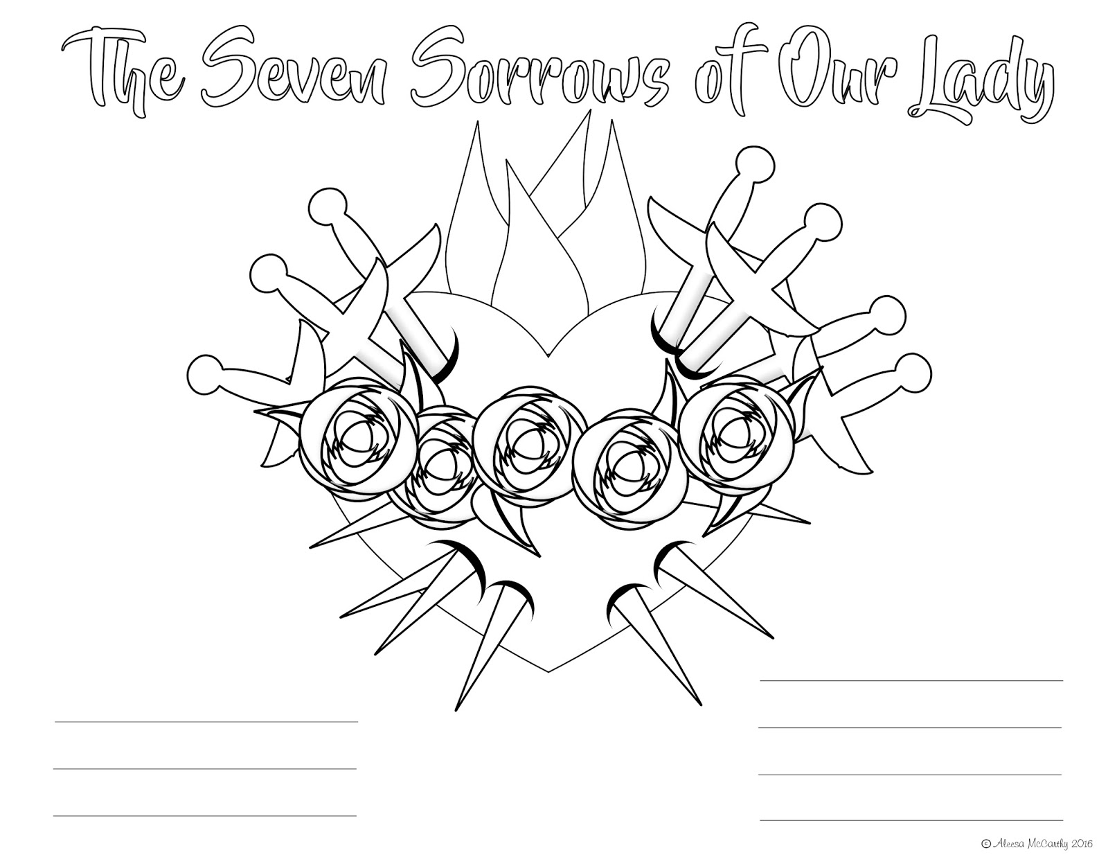 Life Love Amp Sacred Art The Seven Sorrows Of Our Lady And Free Coloring Pages