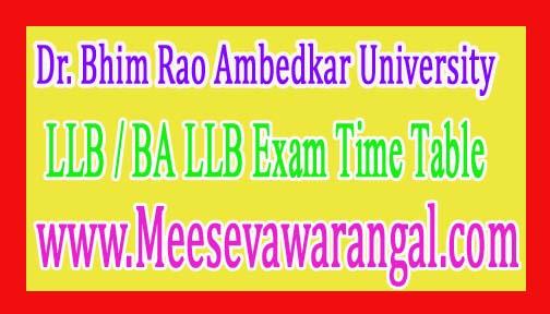 Dr. Bhim Rao Ambedkar University Agra LLB / BA LLB Exam Time Table Dec 2016