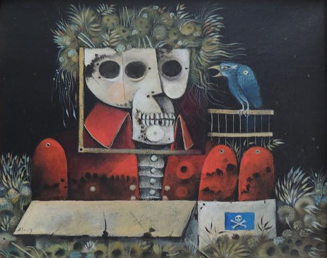 Eduard Alcoy acrílico lienzo cráneo surrealista