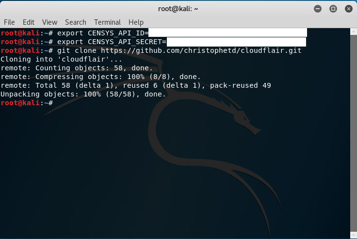 Kali Linux, clonazione repository cloudflair