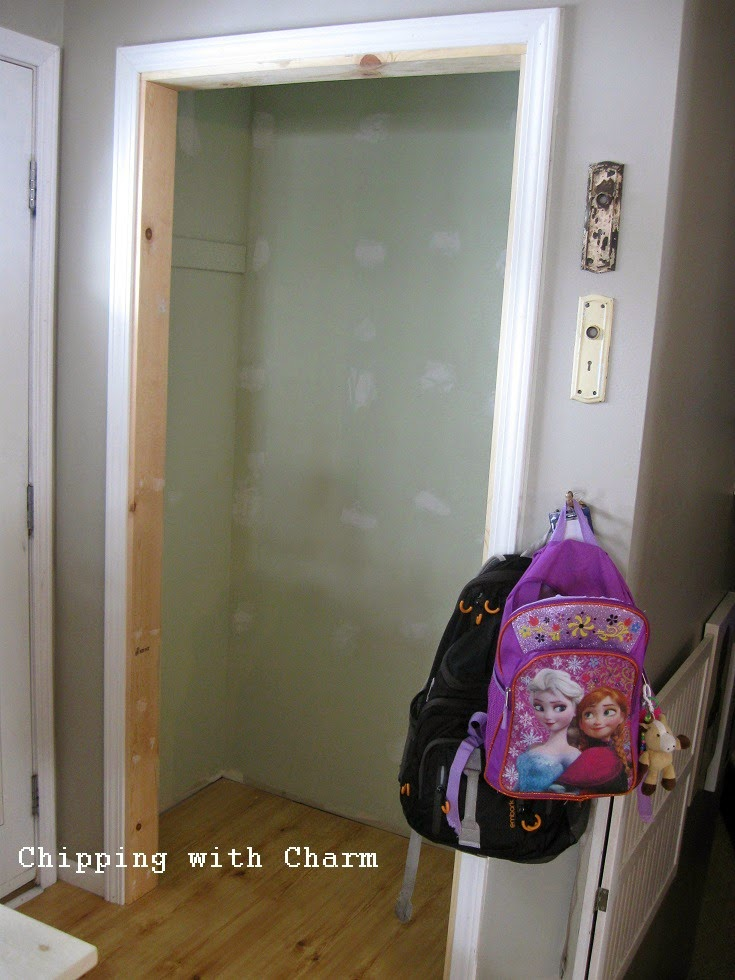 Chipping with Charm: Entry closet update...before. www.chippingwithcharm.blogspot.com