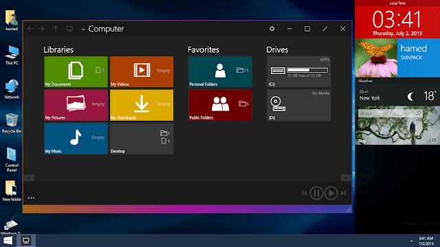 حول شكل الويندوز لديك الى شكل ويندوز 10 الجديد مع الحزمه العملاقه Windows 10 Skin Pack 6.0
