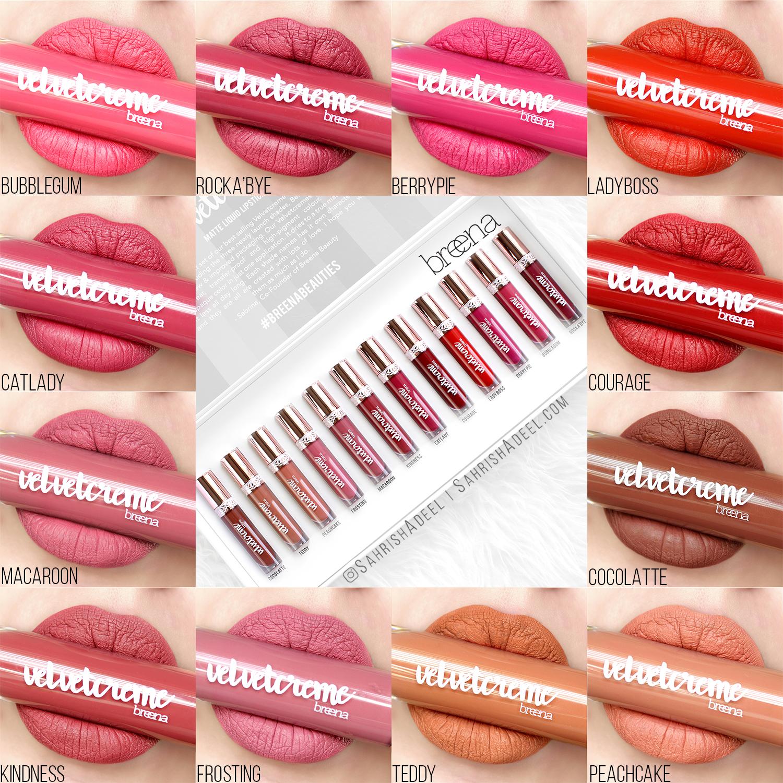 Velvet Creme Matte Liquid Lipsticks by Breena Beauty - Review & Lip Swatches