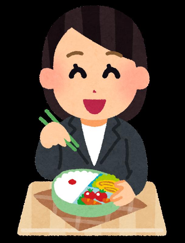 お弁当を食べるOLのイラスト