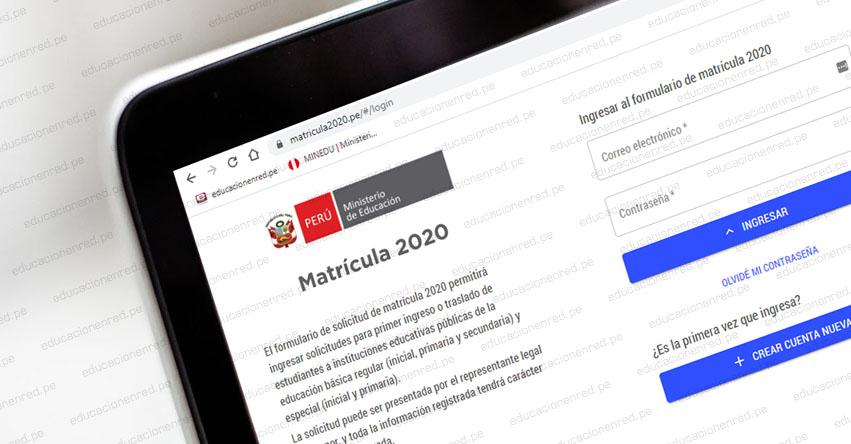 MINEDU habilita Plataforma Virtual para solicitar matrícula y traslado de estudiantes a colegios públicos - www.matricula2020.pe