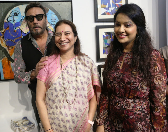Jackie Shroff, Dr Radhike Khanna, Amruta Fadnavis, during Art Trisomy 21, a 2-day art exhibition by specially abled adults