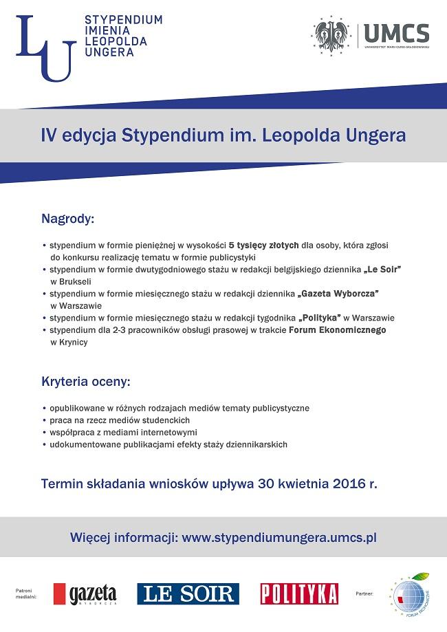 Stypendium im. Leopolda Ungera - IV edycja - plakat reklamujący