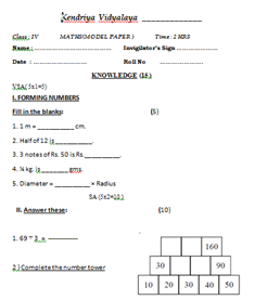 KV AFS PRIMARY SECTION HOME WORKS: CLASS- 4 - MATHS MODEL