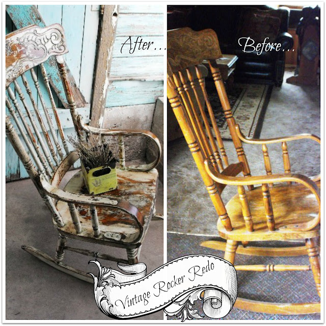 Lace Crazy: Distressed, Chippy, Rocking Chair Redo~!