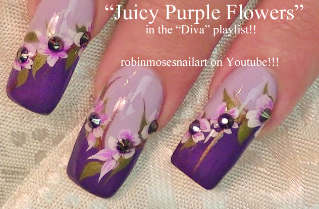 Nail Art By Robin Moses Purple Flower Nail Art Cute Sport Nails