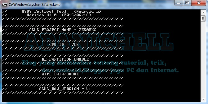 Cara Flash Asus Z00rd Raw Via Fastboot 100  Done