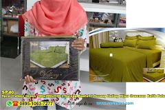 Sprei Vallery Green 180x200xT30 2 Sarung Bantal 2 Sarung Guling Hijau Ornamen Batik Polos Dewasa Serat Lidah Buaya