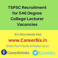 TSPSC Recruitment for 546 Degree College Lecturer Vacancies