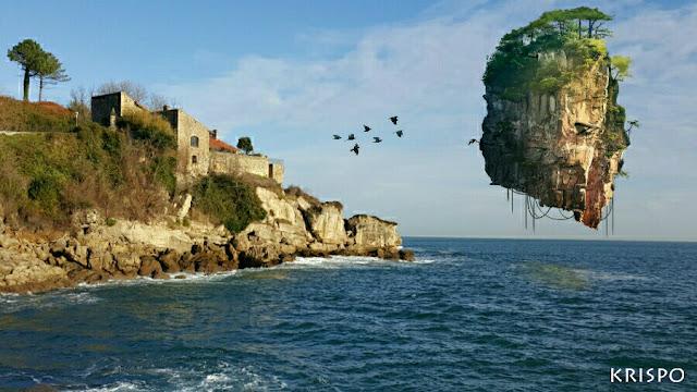 montaña flotante suspendida sobre la costa de hondarribia