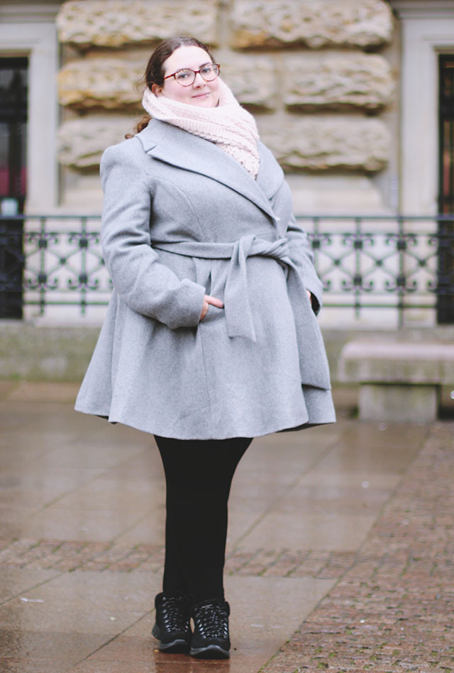 Plus size grey coat