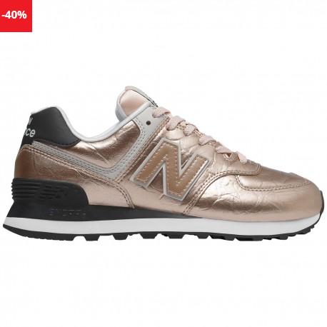Pantofi sport femei aurii New Balance WL574 METALLIC LEATHER la reducere