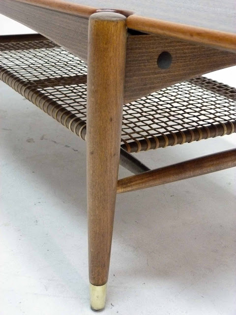 Dux Teak Walnut Cane Shelf Surfboard Coffee Table Brass Sabot