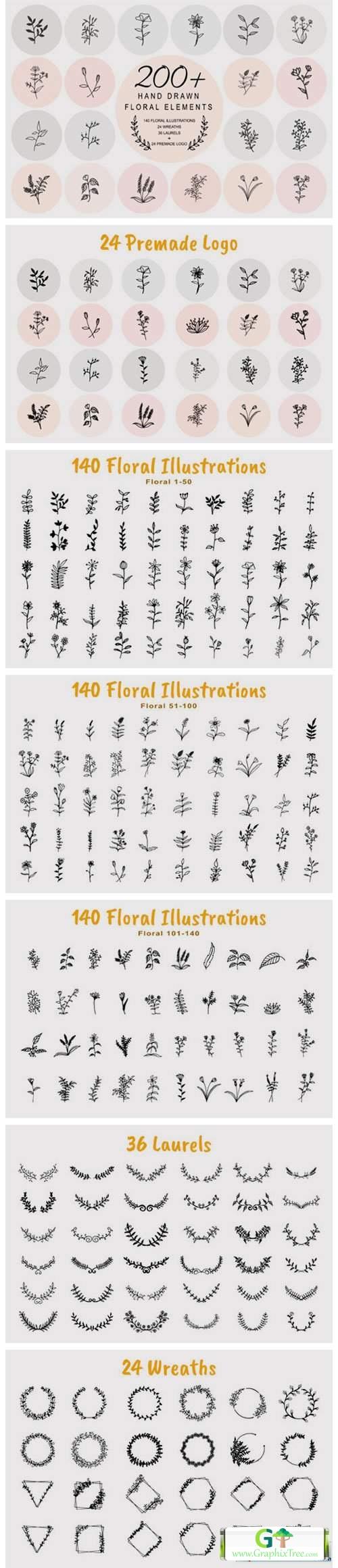200 Hand Drawn Floral Elements Bundle