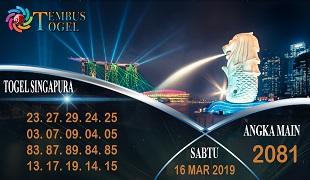 Prediksi Angka Togel Singapura Sabtu 16 Maret 2019