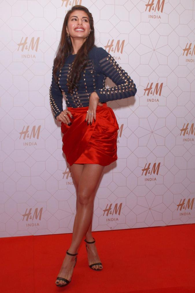 Beautiful Sri Lankan Girl Jacqueline Fernandez In Red Mini Short