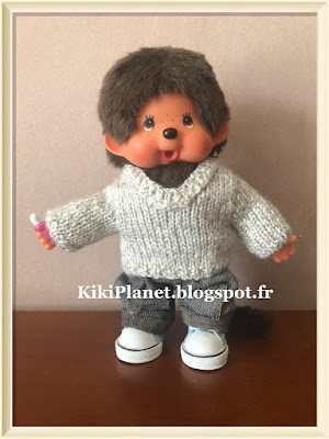 pull col V tricot, kiki, monchhichi, bebichhichi, poupée, vêtement, knitting, handmade, fait main