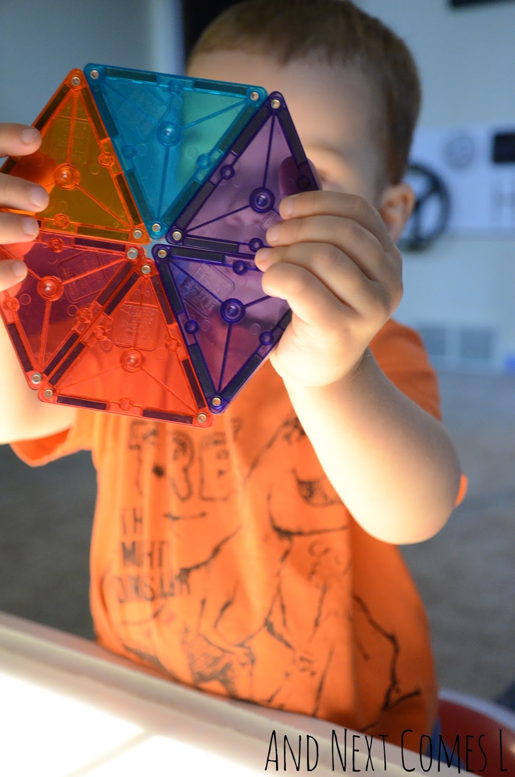 Showing off a Magna-Tiles shape from And Next Comes L