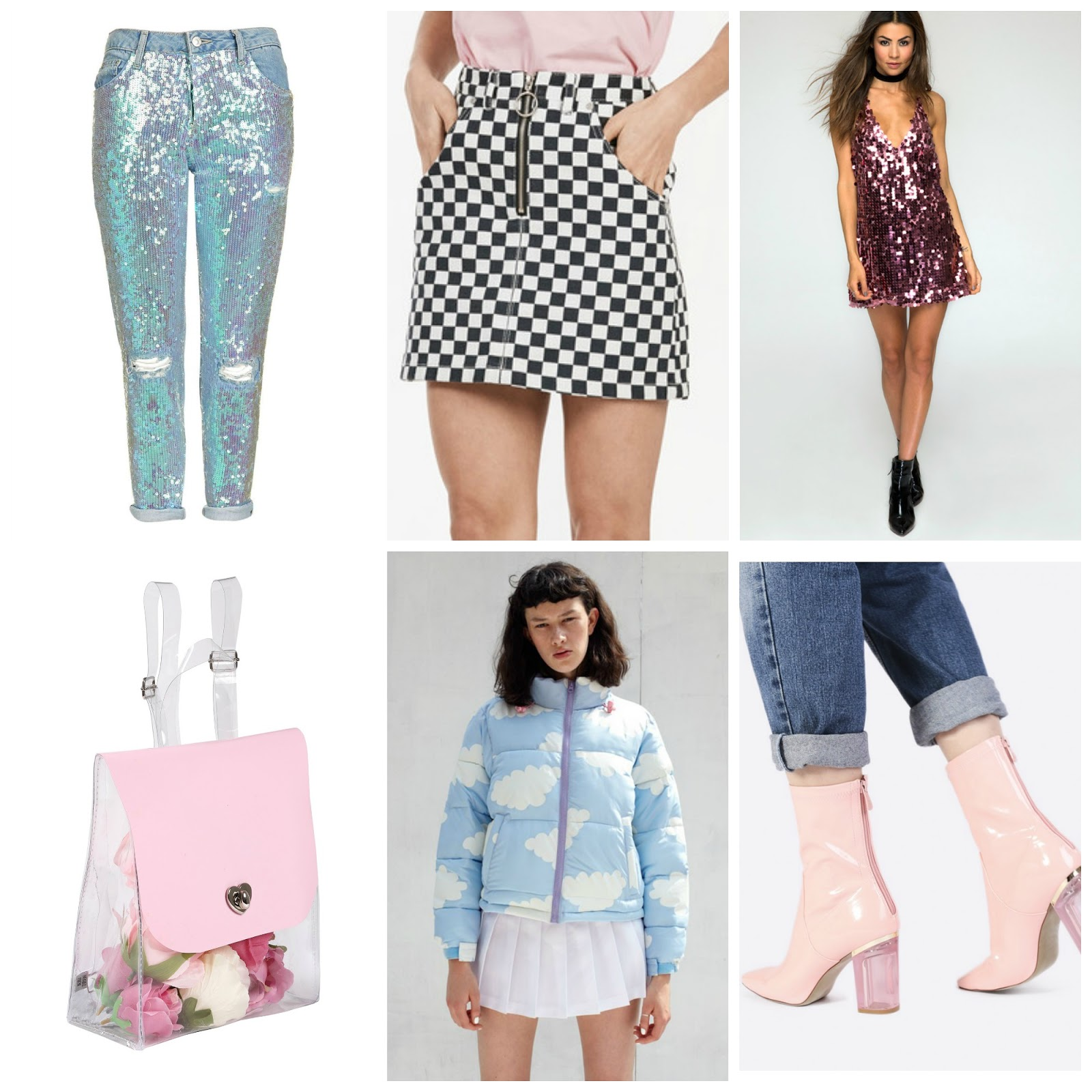 640bdf49f2 Topshop MOTO Sequin Hayden Jeans // UNIF Apex Skirt // Motel Finn Dress in  Metallic Rose Disc Sequin // Local Heroes Candy Clear Backpack // Lazy Oaf  Cloud ...