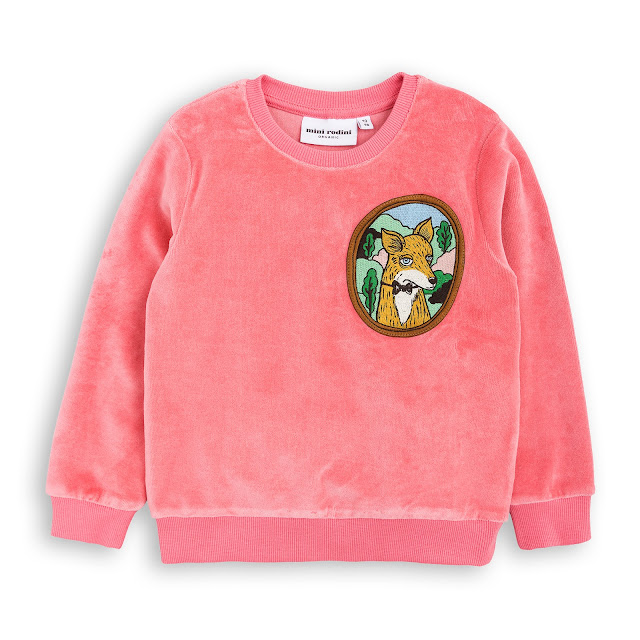 Mini Rodini Fox Velour Sweatshirt - Pink