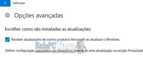 Receber atualizações de outros produtos Microsoft ao atualizar o Windows