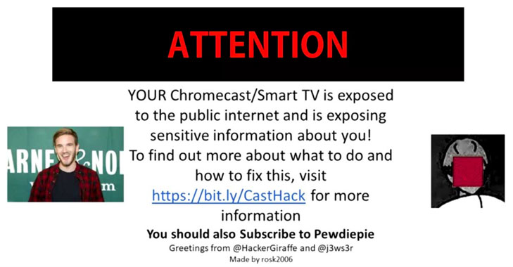 Thousands of Google Chromecast Devices Hijacked to Promote PewDiePie