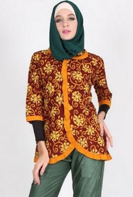 Baju batik kombinasi untuk kerja