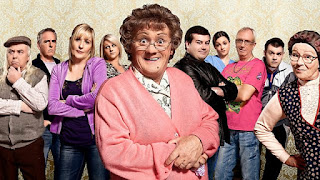 A photo of Brendan O'Carroll  from Ireland and the cast of his television show - Mrs. Brown's Boys