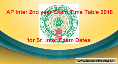AP Inter 2nd year Time Table 2018 Download, Manabadi Inter Exam Time Table 2018