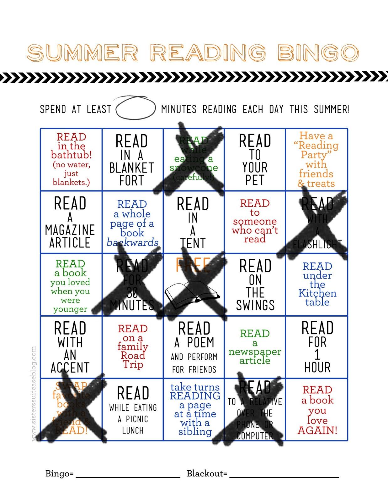 Summer Reading Bingo Card Printable Blog Hop