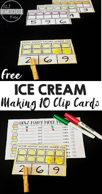 FREE Ice Cream Making 10 Clip Cards - this is such a fun way for kids to begin grasping adding on with a super cute ice cream theme. This makes the perfect summer learning math activity for preschool, prek, and kindergarten age kids or as a fun back to school ice cream unit.