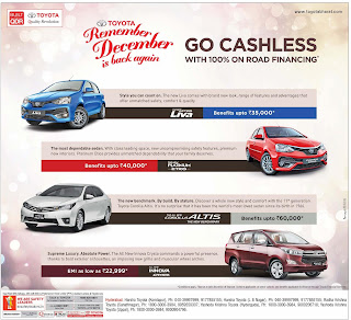 Own your favourite Toyota car with 100 % on road funding | December 2016 year end sale festival discount offers