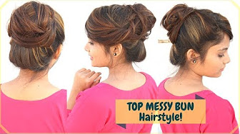 1 Min Top Messy Bun Hairstyle With FRINGE / Bangs Styling | Easy Indian Hairstyle For Medium Hair
