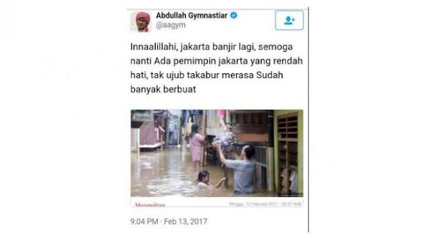Banjir Jakarta, Akun Aa Gym Diserbu Ratusan Netizen. Komentarnya Bikin Geleng-geleng!