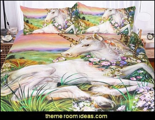 unicorn bedding - unicorn decor - unicorn duvet - fantasy theme bedroom decorating ideas - fairytale bedrooms decor - pegasus decor - unicorn wall murals - unicorn wall decals