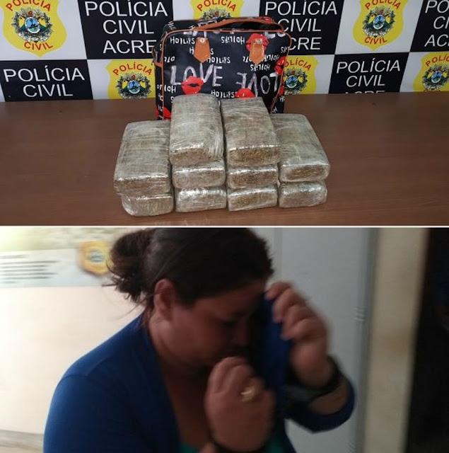 Mulher é presa com 10 quilos de maconha em rodovia quando tentava mandar a droga para Rio Branco