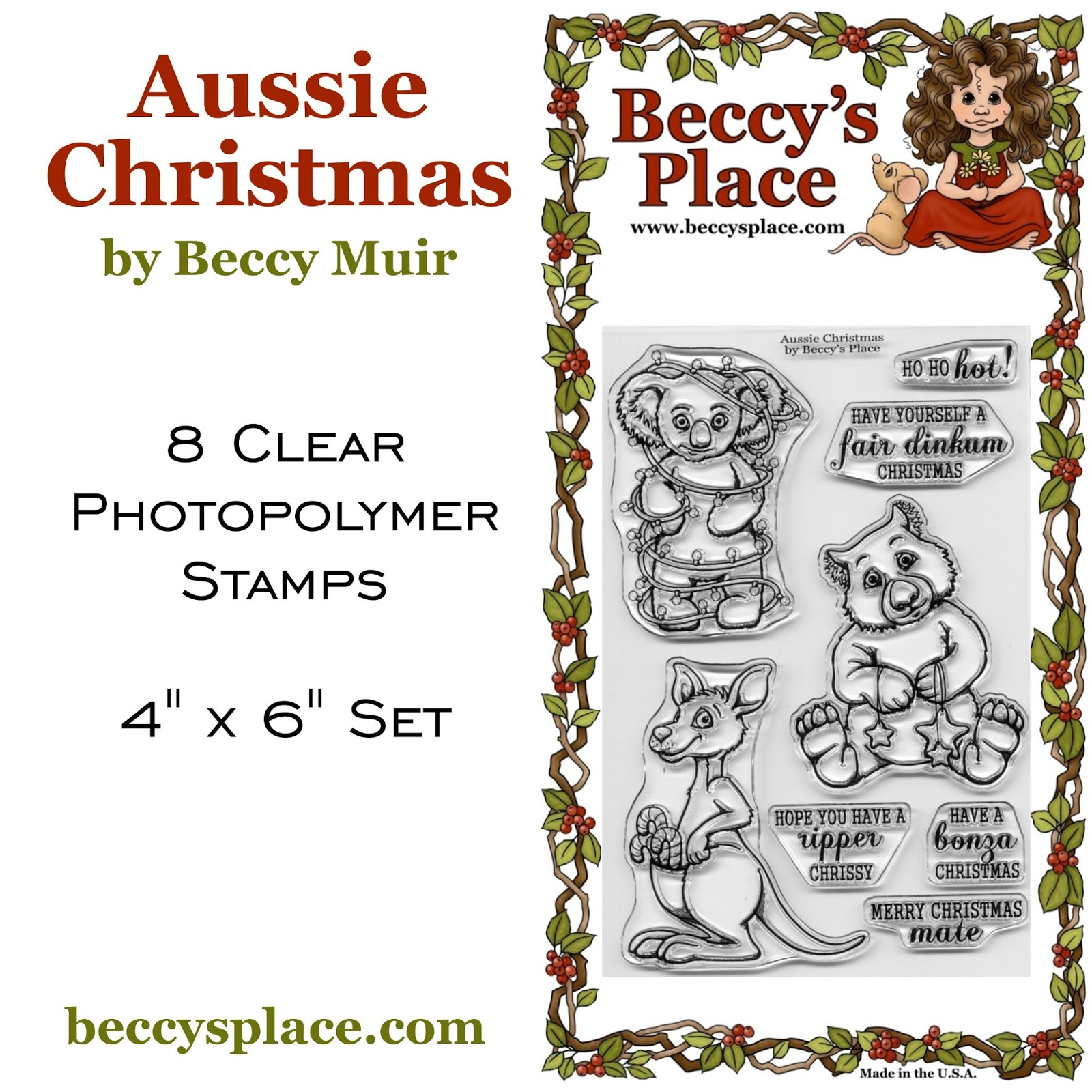 Beccys place new release aussie christmas aussie flavour to your christmas card making the set includes a candy cane toting kangaroo star gazing wombat and light wrapped koala along with five m4hsunfo