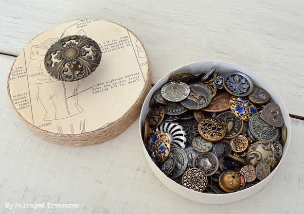 upcycled cheese box for holding vintage buttons