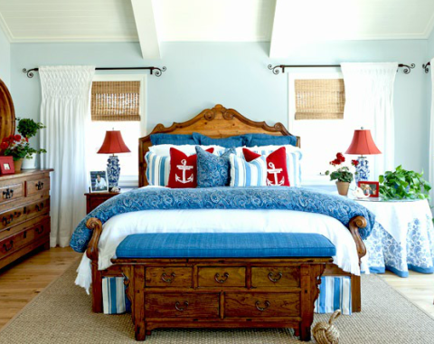 nautical bedroom in red white blue