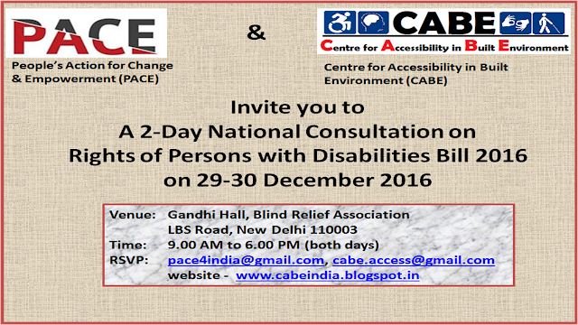 Invitation Poster for the 2 Day National Consultation on Rights of Persons With Disabilities Bill 2016